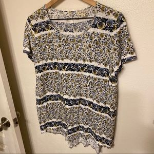 Lucky Brand floral stripe tee